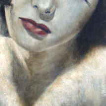 Hedy Lamarr IN FUR acryl op canvas 180 x 60