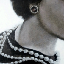 Parels Coco Chanel (SOLD) Acryl op canvas op paneel 36 x 36 cm 2017