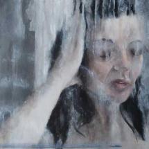 Portret acryl op canvas en paneel 55 x 60
