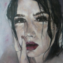 Portret serie water acryl op linnen en paneel 52 x 92 cm 2018