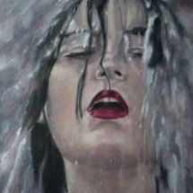 Portret serie water acryl op linnen en paneel 72 x 92 cm 2018