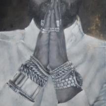 LA FUENTE Acryl op leer, paneel en aluminium frame 59 x 159 cm 2019