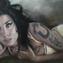 Amy Winehouse Acryl op linnen en paneel 75 x 135 cm 2019
