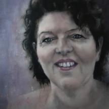 Portret Angela Acryl op linnen en paneel 62 x 72 cm 2019